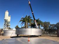 Stainless steel storage tank under construction